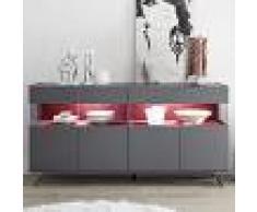 Kasalinea Enfilade 4 portes avec led design gris et rouge palermo 5