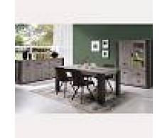 Kasalinea Salle à manger complète contemporaine couleur bois gris melany