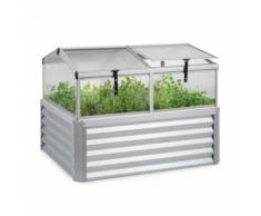 Blumfeldt High Grow Advanced Carré de potager surélevé avec toit - 540 litres - Acier argent - Jardinières et bacs