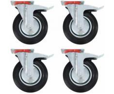 vidaXL Roulettes 4 pcs Roulette de Mobilier Chariot Roulant Etagère à Livre Roulette de Meuble Bibliothèque Panier d'Achat Capacité 70 kg 100 mm - Accessoires pour meubles