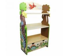 Meuble bibliothèque étagère 1 tiroir rangement livre jouet enfant bois Dinosaur - Etagères enfant