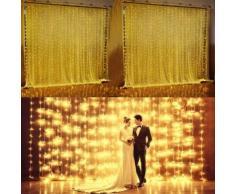3Mx3M Rideau Lumineux BLANC CHAUD 300 LED Décoration de Noël / Fête/ Mariage / Soirée / Anniversaire - Luminaires extérieur