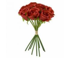 bouquet 9 roses lien raphia 23x15cm rouge - Plantes artificielles