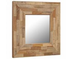 Miroir en Teck Recyclé Style Vintage pour Maison ou Salle de Bain 50 x 50 cm Marron - Objet à poser
