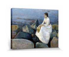 Edvard Munch Poster Reproduction Sur Toile, Tendue Sur Châssis - Inger À La Plage, Nuit D'Été, 1889 (30x40 cm) - Décoration murale