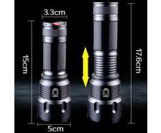 T6 LED lampe torche télescopique Zoom Glare Éclairage extérieur 26650 Kiliaadk305 - Torches