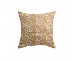 Coussin imprimé fleurs jaune 45 x 45 cm AQUARELLE - Textile séjour