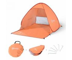 Abri de plage tente de plage pliable pop-up automatique instantané protection UV fenêtre arrière grand tapis de sol orange - Tente