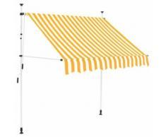 vidaXL Auvent rétractable manuel 200 cm Rayures jaunes et blanches - Matériel de construction toiture