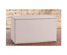 Coffre de rangement pour Jardin Comfy en polyrotin fibres rondes - Modèle 125 - Couleur Blanc perle - Mobilier de Jardin