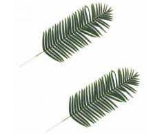 2 pcs Feuilles artificielles de palmier Vert 160 cm - Plantes artificielles