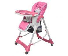 vidaXL Chaise haute Deluxe et Réhausseur bébé couleur Rose - Mobilier de Jardin