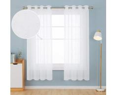 Deconovo Lot de 2 Rideaux Imprimé Pair Pois Rideaux Voile Fenêtre Chambre Enfant 140x175cm Blanc - Rideaux et stores
