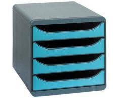 Module 4 tiroirs ouvert big box turquoise - Corbeille, bac à courrier, poubelle
