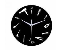 Style de Creative Non-Coutil Silencieux Antique Bois Horloge Murale Pour La Maison Cuisine Noir PL666 - Décoration murale