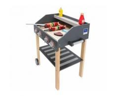 Barbecue en Bois Grill XXL Jeux d'imitation 59 X 35 X 47 CM Boutons de gril Roues mobiles Grande étagère Légumes Viande Certifié CE - Jardinage