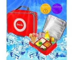 Sac Isotherme Repas Glacière Lunch Box Tissu Water Proof Résistant Poignée Rouge - Yonis - Matériels de camping et randonnée