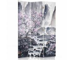 Feeby Décoration Paravent d'intérieur sur toile, 3 parties une face, Cerisier rose 110x150 cm - Objet à poser