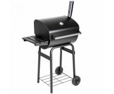 TECTAKE Barbecue multifonctions, Grill, Fumoir avec thermomètre 48 cm x 85 cm x 123 cm Noir - Cuisiner en extérieur