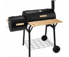TECTAKE Barbecue, Grill, Fumoir, Smoker Américain XXL avec thermomètre de température - Charbon de Bois - Cuisiner en extérieur