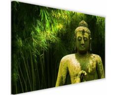 Tableau Toile Image Cadre déco Canevas Bouddha et Bambous 4 90x60 - Décoration murale