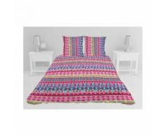 Couvre-lit boutis matelassé Claude - 240 x 260 cm - Rouge, bleu et gris - Linge de lit