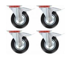 vidaXL Roulettes Pivotantes 4 pcs Roulette de Mobilier Chariot Roulant Roulette de Meuble Etagère à Livre Bibliothèque Panier d'Achat Capacité 150 kg 160 mm - Accessoires pour meubles