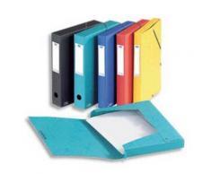 Lot de 10 Boîtes classement EUROFOLIO carte lustrée, dos 2,5 cm, fermeture élastique, 330 x 250 mm, coloris noir - Boîte de classement