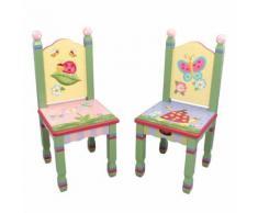 2 chaises (pas de table) pieds en bois chambre enfant bébé jouets jeux W-7484A/2 - Décoration de chambre
