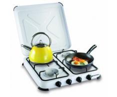 Réchaud gaz portable 4 feux kemper- 4650W - blanc laqué - Grillade et barbecue