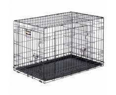 Ferplast Cage de transport pliable pour chiens DOG-INN 90, enclos pour chiots, transport en métal séparation inclus, porte double avec fermeture de sécurité, 92,7 x 58,1 x h 62,5 cm Noir - Paniers et mobilier pour chien