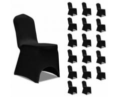vidaXL Housses élastiques de chaise Noir 18 pcs - Textile séjour