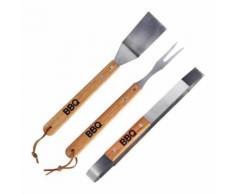 Kit complet barbecue plancha pince fourchette spatule Bois Inox - Accessoires pour barbecue et fumoir
