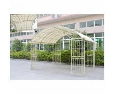 L'Héritier Du Temps - Grande tonnelle couverte kiosque de jardin pergola abris rectangle en fer forgé blanc 280x305x405cm - Mobilier de Jardin