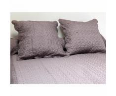Couvre-lit Boutis uni taupe 220x240 cm avec 2 taies d'oreiller - Linge de lit