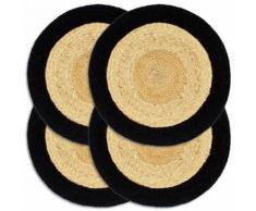 vidaXL Napperons 4 pcs Naturel et noir 38 cm Jute et coton - Linge de table