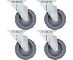 vidaXL 32x Roulettes Pivotantes avec Frein Double Fixes Roues Fixes pour Etabli Meuble Chariot Roulant Etagère à Livre Tables de Travail Capacité de 45 kg 75 mm - Accessoires pour meubles