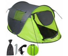 TECTAKE Tente de Camping 2 Places Automatique et Imperméable - 215 cm x 117 cm x 98 cm - Vert Gris - Tente