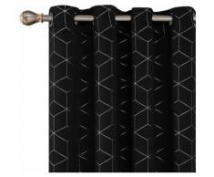 Deconovo Lot de 2 Occultant Isolant Rideaux Argente Motif Géométriques Cubes à Oeillets Thermiques pour Rideaux Occultants Salon 132x214cm Noir - Rideaux et stores