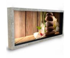 tableau - toile tableau déco cadre vitrine 20x50 - galets fleurs orchidées - Décoration murale