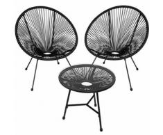 TECTAKE 2 Fauteuils Acapulco et 1 Table de Jardin de Salon Design rétro Cadre en Acier Noir - Mobilier de Jardin