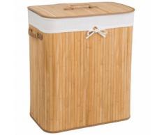 TECTAKE Panier à Linge 100 L en Bambou 53 cm x 33,5 cm x 63 cm Marron Clair + Sac à Linge Sale - Accessoires de bain