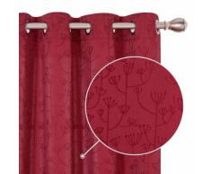 Deconovo Lot de 2 Rideaux Salon à Oeillets Rideaux Jacquard Rouge Design Moderne 132x183cm - Rideaux et stores