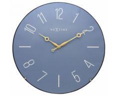 NeXtime NE-3158BL Horloge murale Dia. 35 cm, globe terrestre, bleu, dôme tendance - Décoration murale