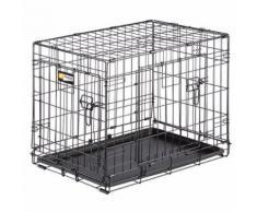 Ferplast Cage de transport pliable pour chiens DOG-INN 60, enclos pour chiots, transport en métal séparation inclus, porte double avec fermeture de sécurité, 64,1 x 44,7 x h 49,2 cm Noir - Paniers et mobilier pour chien