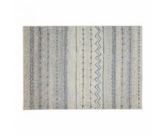 Tapis à motifs beige et bleu 150 x 220 cm TRIBAL - Tapis et paillasson