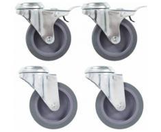 vidaXL 24x Roulettes Pivotantes Roues Fixes pour Etabli Chariot Roulant Meuble Etagère à Livre Tables de Travail Capacité de 35 kg 50 mm - Accessoires pour meubles