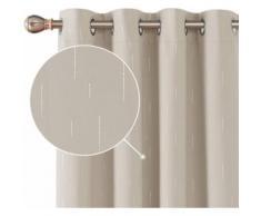 Deconovo Lot de 2 Rideaux Occultant Salon Design Moderne Rideaux Thermique Isolant Anti Froid à Oeillets avec Motif Argents Imprimés 140x180cm Beige - Rideaux et stores