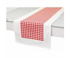 Chemin de table en coton VICHY Rouge, jacquard - Linge de table