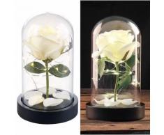 Rose artificielle avec cloche en verre et lumière LED - Blanche - Plantes artificielles